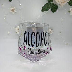 Iridescent stemless wine glass